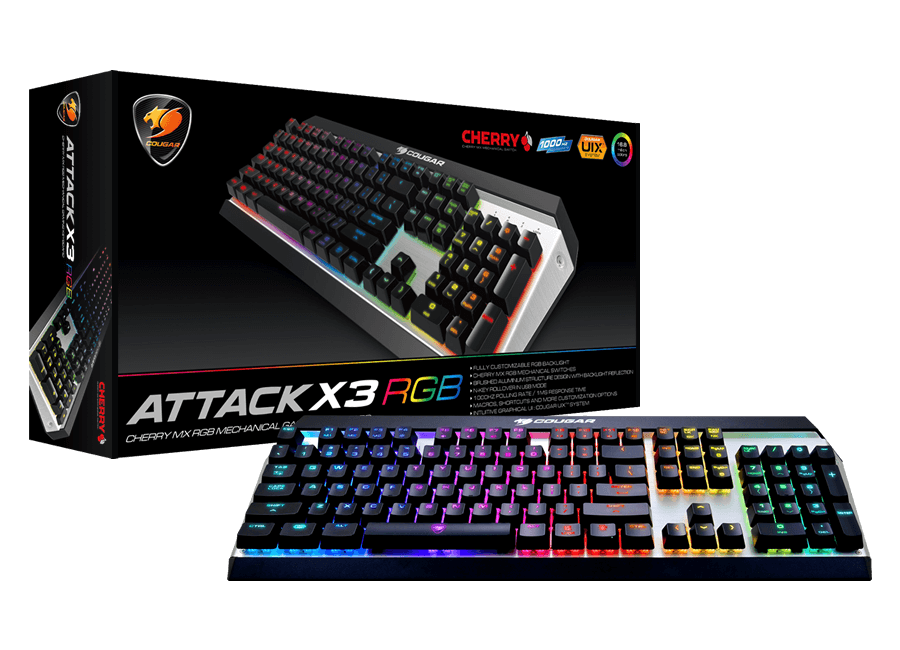 Cougar Attack X3 RGB Backlit Cherry MX Red Switch Mechanical Gaming Keyboard