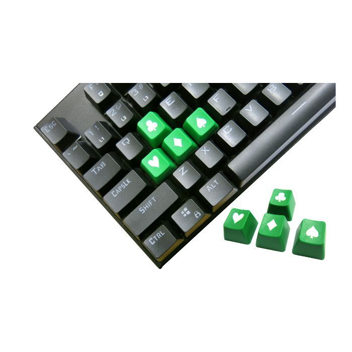 Tai-Hao ABS Double Shot Poker 4 Key Set Green/White Novelty Keycaps