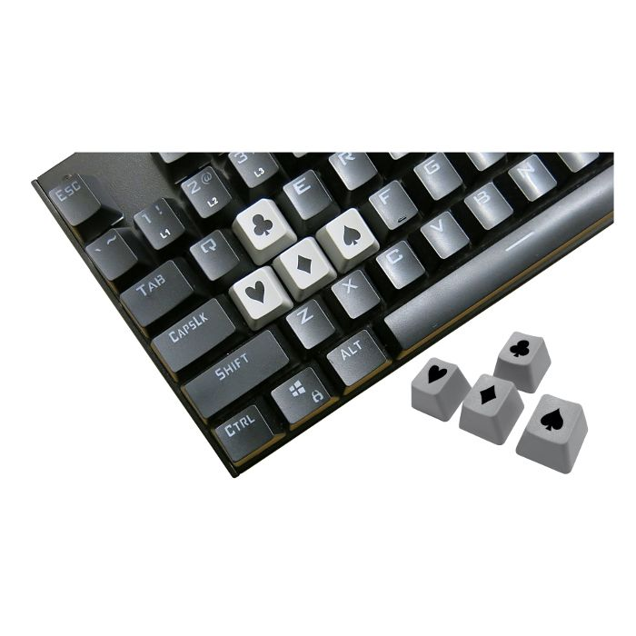 Tai-Hao ABS Double Shot Poker 4 Key Set Grey/Black Novelty Keycaps