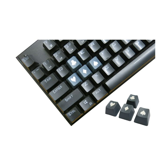 Tai-Hao ABS Double Shot Poker 4 Key Set Grey/White Novelty Keycaps