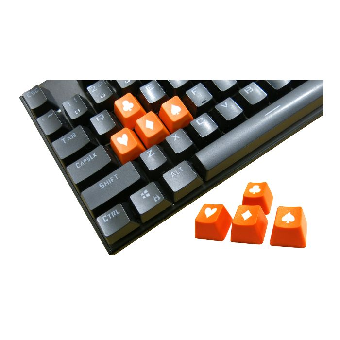 Tai-Hao ABS Double Shot Poker 4 Key Set Orange/White Novelty Keycaps
