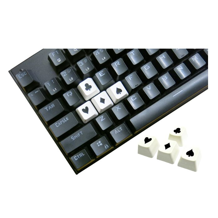 Tai-Hao ABS Double Shot Poker 4 Key Set White/Black Novelty Keycaps
