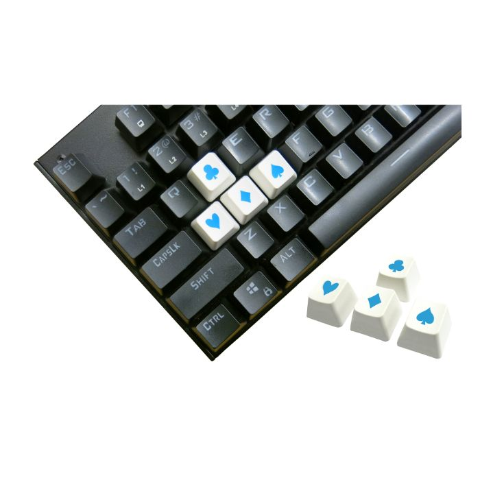 Tai-Hao ABS Double Shot Poker 4 Key Set White/Blue Novelty Keycaps