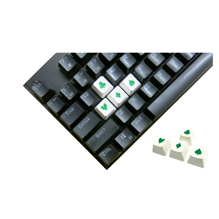 Tai-Hao ABS Double Shot Poker 4 Key Set White/Green Novelty Keycaps