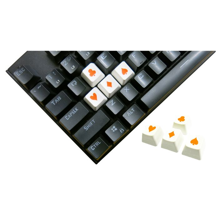 Tai-Hao ABS Double Shot Poker 4 Key Set White/Orange Novelty Keycaps