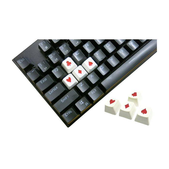 Tai-Hao ABS Double Shot Poker 4 Key Set White/Red Novelty Keycaps