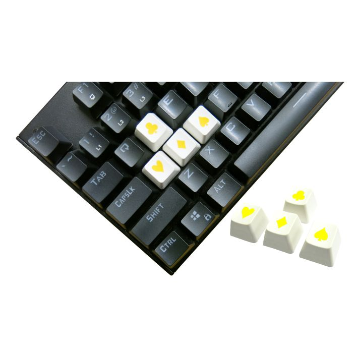 Tai-Hao ABS Double Shot Poker 4 Key Set White/Yellow Novelty Keycaps